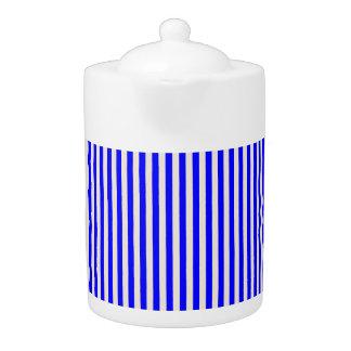 Tea Pot: Blue, Creamy White Vertical Stripes.