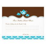 Tea Pot Bridal Shower Advise Card Personalized Invite