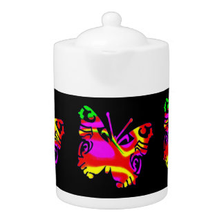 Tea Pot: Coloured Butterfly, Black Background.