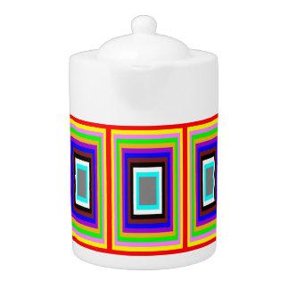 Tea Pot: Coloured Rectangles Motif.