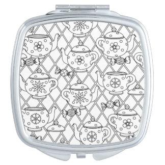 Tea Pot Doodle Compact Mirror