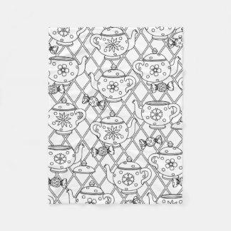 Tea Pot Doodle Fleece Blanket
