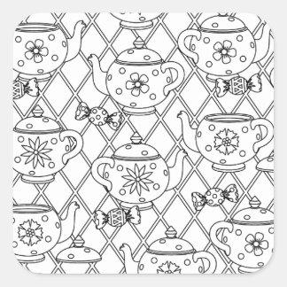 Tea Pot Doodle Square Sticker