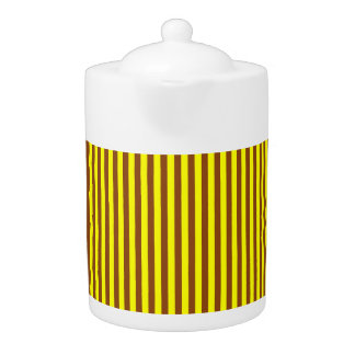 Tea Pot: Goldenrod and Yellow Vertical Stripes.