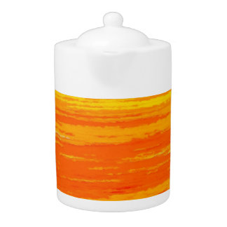 Tea Pot: Orange, Yellow Streaks.
