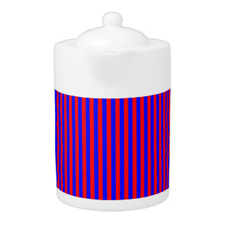 Tea Pot: Red, Blue Vertical Stripes.