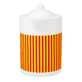 Tea Pot: Red, Yellow vertical Stripes.