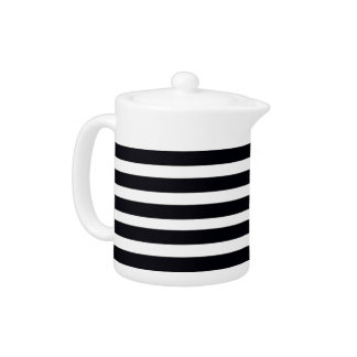 Tea pots with classic Black and White Stripes