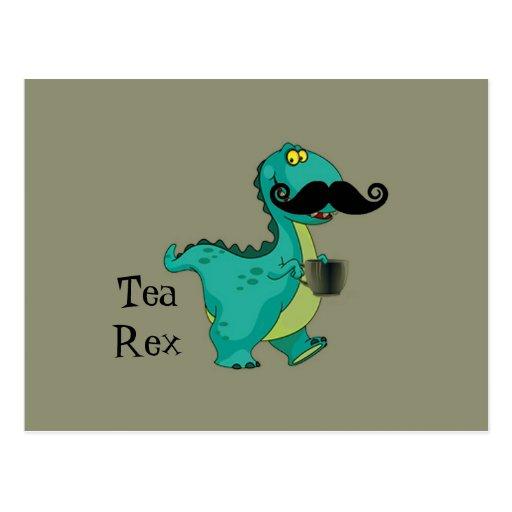 Tea- Rex Funny Dinosaur Cartoon Innuendo Postcards