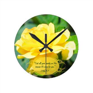Tea Rose & Bible Verse Custom Clock