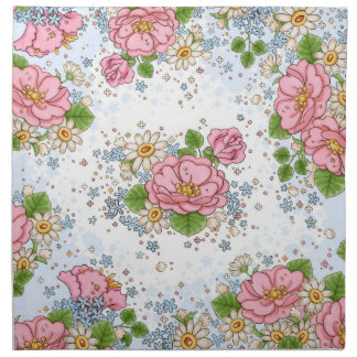Tea Rose napkin set (blue)