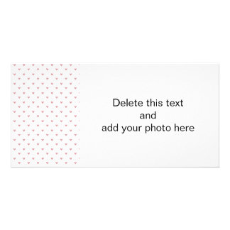 Tea Rose Pink Glitter Hearts Pattern Custom Photo Card