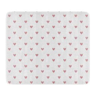 Tea Rose Pink Glitter Hearts Pattern Cutting Board