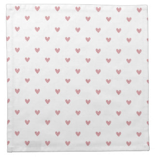 Tea Rose Pink Glitter Hearts Pattern Napkin