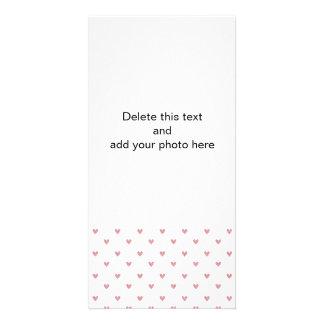 Tea Rose Pink Glitter Hearts Pattern Personalized Photo Card