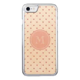 Tea Rose Pink Glitter Hearts with Monogram Carved iPhone 8/7 Case