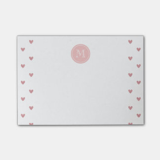 Tea Rose Pink Glitter Hearts with Monogram Post-it Notes