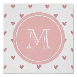 Tea Rose Pink Glitter Hearts with Monogram Poster