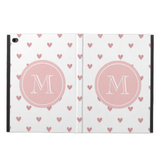 Tea Rose Pink Glitter Hearts with Monogram Powis iPad Air 2 Case
