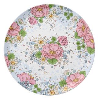Tea Rose plate (blue)