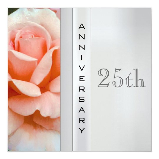 Tea Rose Silver Wedding Anniversary Invitation