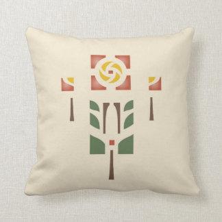 'Tea Rose' Stencil Design Throw Pillow