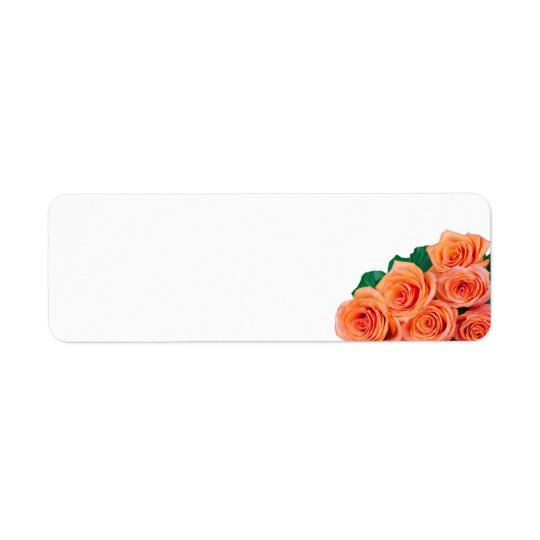 Tea Roses Bouquet With Dew Drops Isolated On White Return Address Label