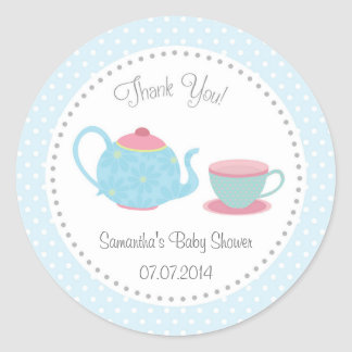 Tea Set Baby Shower Sticker Pink Blue Polka Dot