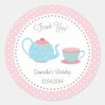 Tea Set Birthday Sticker Pink Blue Polka Dot