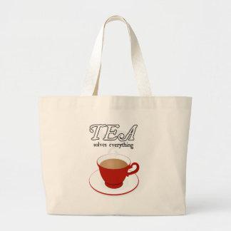 Tea Solves Everything Large Tote Bag