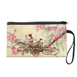Tea Stain Birds Pink Cherry Blossom Bride's Clutch Wristlet Purses