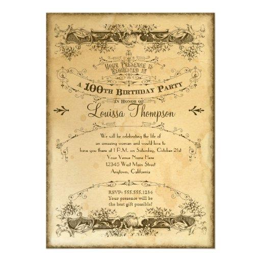 Tea Stained Vintage 100th Birthday Celebration Custom Invites