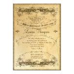 Tea Stained Vintage 80th Birthday Celebration 13 Cm X 18 Cm Invitation Card