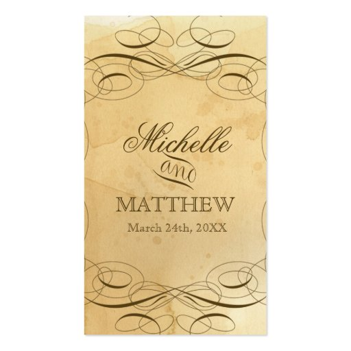 Tea Stained Vintage Wedding 1 - Favor Gift Tags Business Card Template