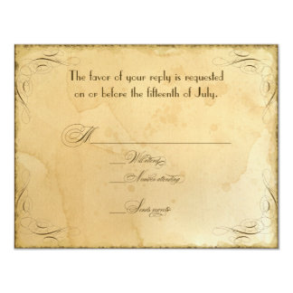 Tea Stained Vintage Wedding 1 - RSVP Response Card Personalized Invitations