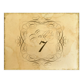 Tea Stained Vintage Wedding 1 - Table Number Cards Postcard