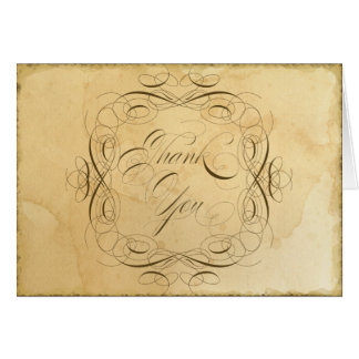 Tea Stained Vintage Wedding 1 - Thank You Notes Note Card