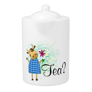 """Tea"" text with doodle cow illustration"