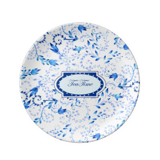 """""""Tea Time"""" - 21.6 cm Decorative Porcelain Plate"""