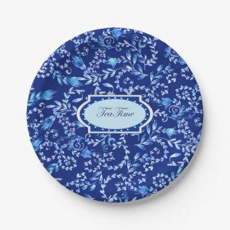 """Tea Time, 2"" - Custom Paper Plates 7 in"