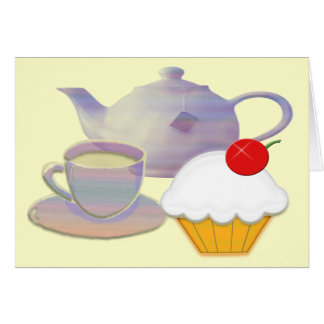 Tea time and cherry cupcake art note card