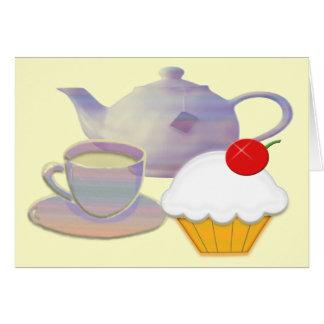 Tea time and cherry cupcake art card