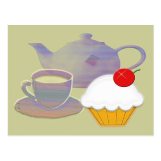 Tea time and cherry cupcake art post card