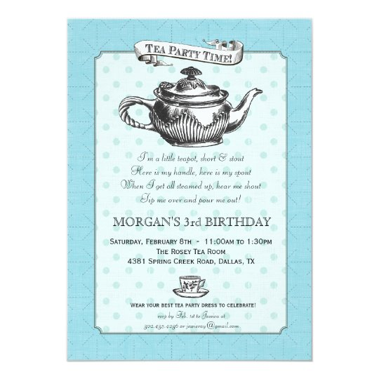 Tea Time Birthday Party Invitation - Aqua Blue