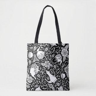 Tea Time Black and White Tote Bag