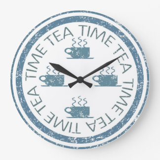 Tea Time Blue on White Large Clock