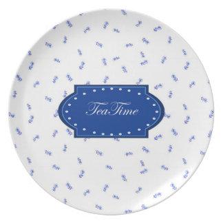 Tea Time - Blue & White Melamine Plate