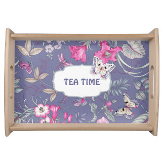 Tea Time. Butterfly Design Gift Serving Tray