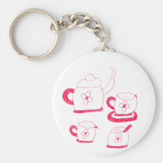 Tea Time Button Keyring