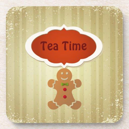 Tea Time & Christmas Gingerbread Man Drink Coasters